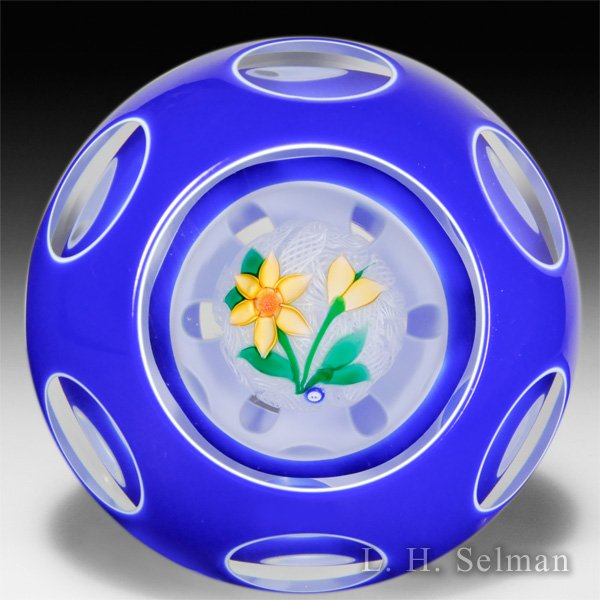 John Deacons (2015) yellow clematis in two double overlays faceted paperweight. by John Deacons