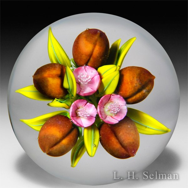 Clinton Smith 2015 peaches and blossoms paperweight. by Clinton Smith