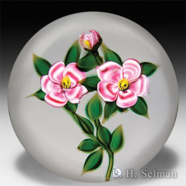 Debbie Tarsitano two pink flowers and a bud glass paperweight. by Debbie Tarsitano