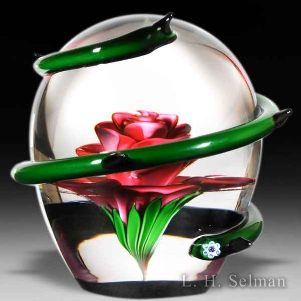 Saint Louis 2011 'La Rose' glass paperweight. by  Saint Louis