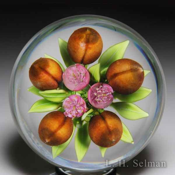 Clinton Smith 2015 peaches and blossoms glass paperweight. by Clinton Smith