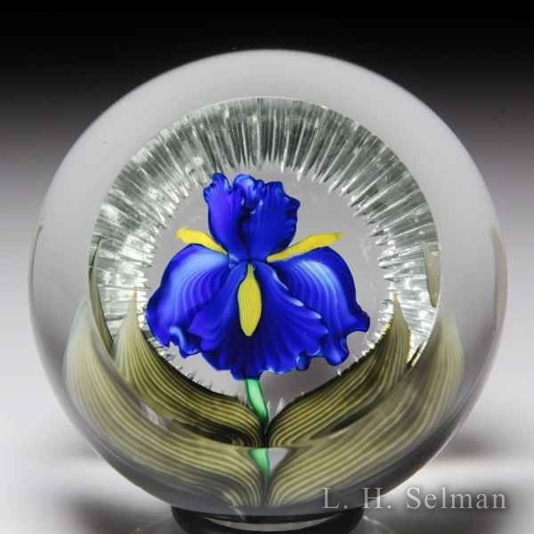 Chris Sherwin 2015 blue iris faceted paperweight. by Christopher Sherwin