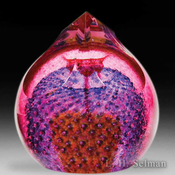 Caithness Glass (2001) 'Vesuvius' abstract design pointed glass paperweight, by Colin Terris. by Caithness  Glass Inc