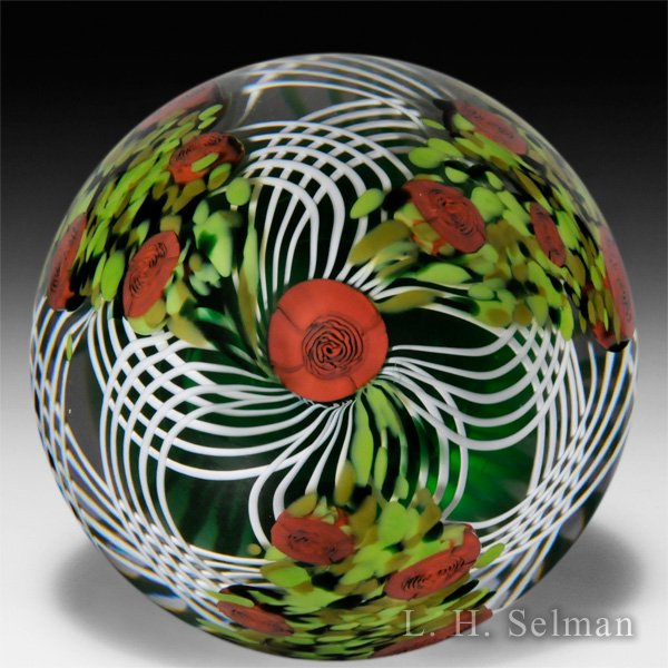 Mike Hunter 2015 'Lovers Meeting' double latticinio rose bushes layered paperweight. by Twists Glass Studio