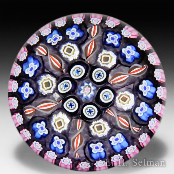 Caithness Glass 2014-2015 'Concentric' large millefiori on purple ground glass paperweight, by Peter McDougall, from the 'Millefiori Collection'. by Caithness  Glass Inc