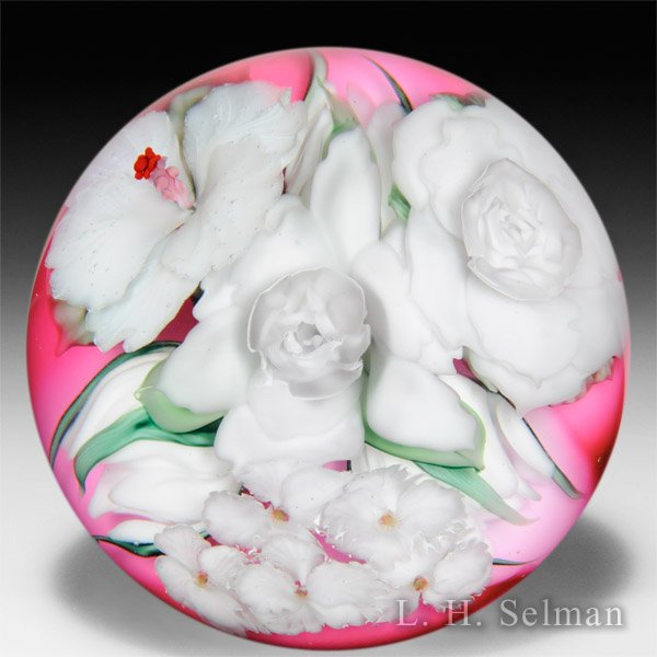 Lundberg Studios 2015 'Bridal Bouquet' gardenias, hibiscus and apple blossoms glass paperweight, by Daniel Salazar. by  Lundberg Studios