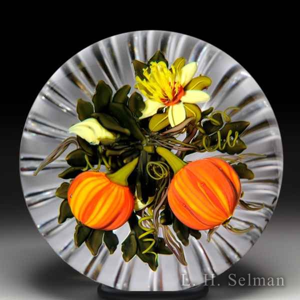 Ken Rosenfeld 2015 pumpkins bottom-cut glass paperweight. by Ken Rosenfeld