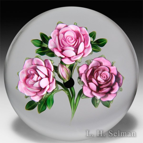 Ken Rosenfeld 2015 three pink roses and a bud melon-cut paperweight. by Ken Rosenfeld