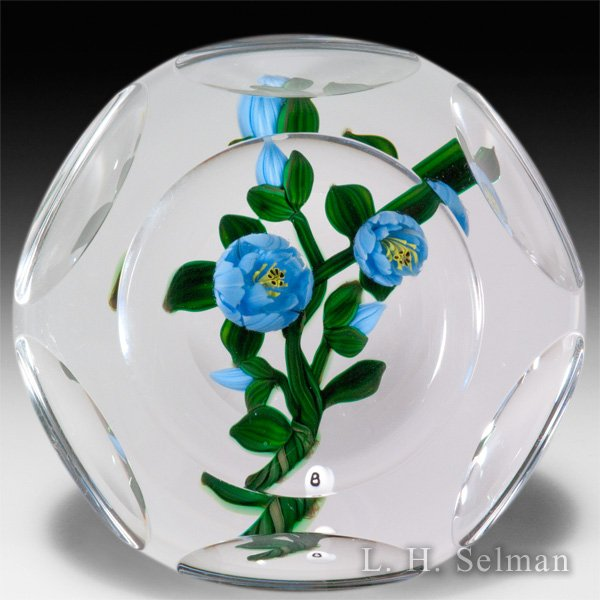Bob Banford blue ranunculus faceted glass paperweight. by Bob Banford