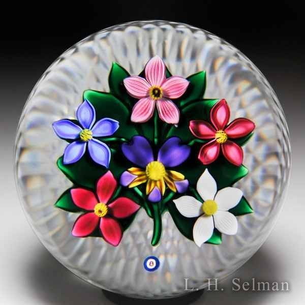 Bob Banford six flower pansy and clematis bouquet glass paperweight. by Bob Banford