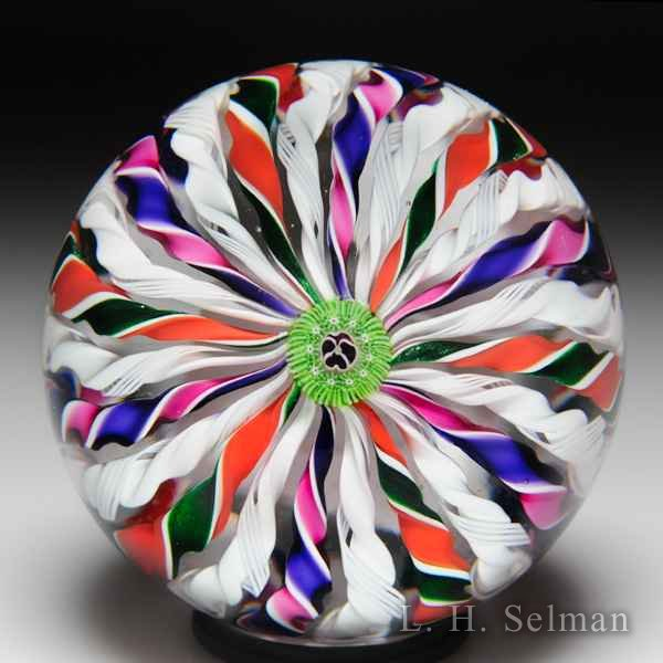 Parabelle Glass 1992 four-colored crown glass paperweight. by  Parabelle Glass
