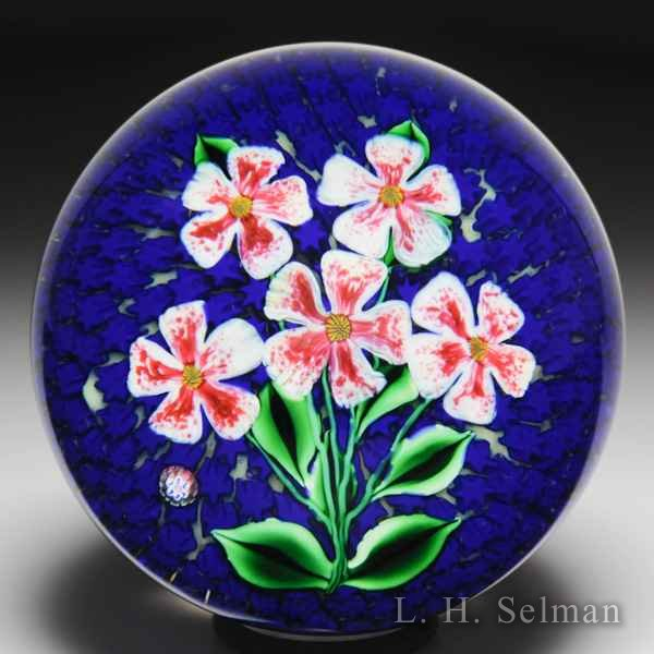 "Saint Louis 1994 ""Harmonie"" flower bouquet on blue stars glass paperweight. by  Saint Louis"