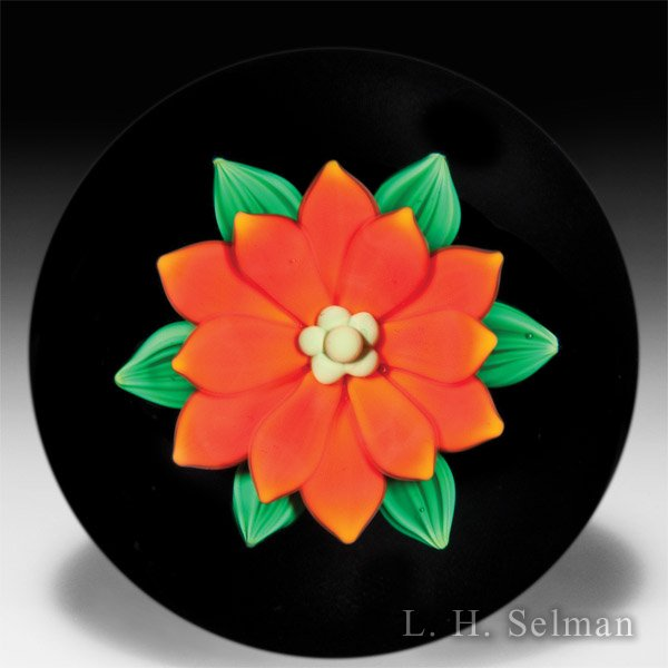 Bobbi Banford double-tiered orange flower paperweight. by Bobbi Banford
