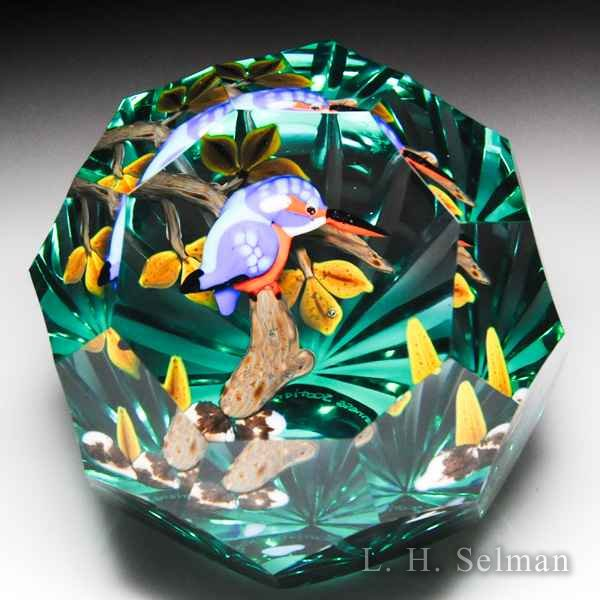 "Caithness Glass 2015 ""Kingfisher"" blue and orange bird compound faceted paperweight, by Duncan Smith, from the Lampwork Collection. by Caithness  Glass Inc"