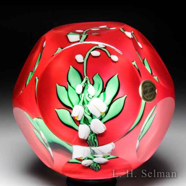 Saint Louis 1982 lily-of-the-valley faceted glass paperweight. by  Saint Louis