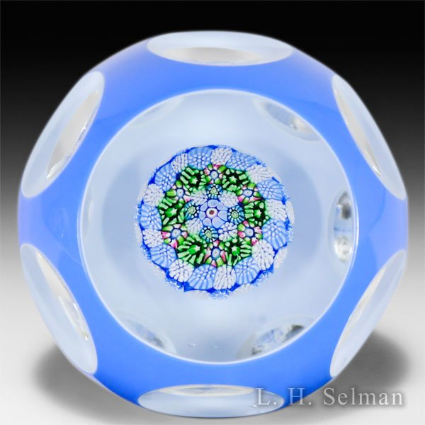 'J' Glass faceted blue overlay concentric millefiori mushroom glass paperweight. by J Glass