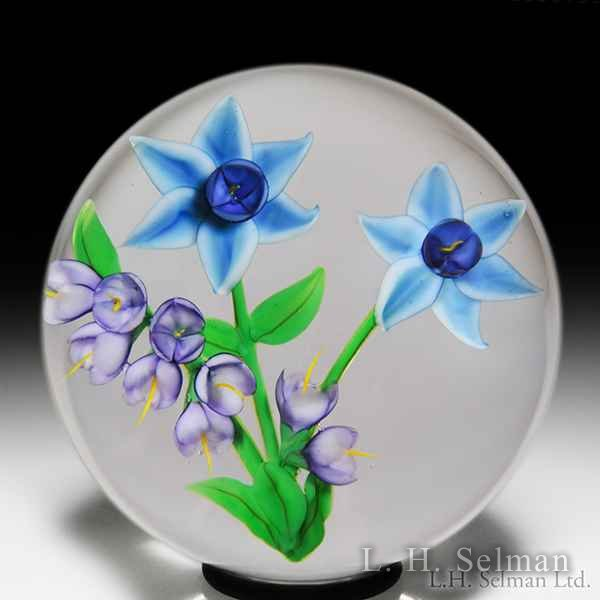 Randall Grubb 1986 blue flowers and purple spray paperweight. by Randall Grubb