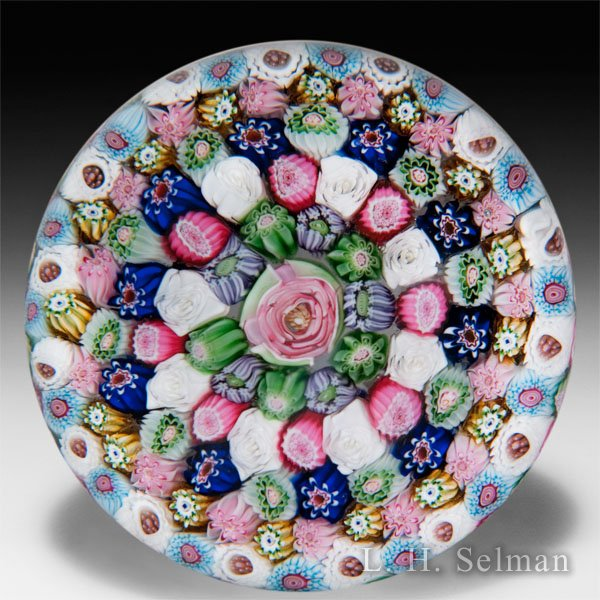 Antique Clichy close concentric millefiori glass paperweight. by  Clichy