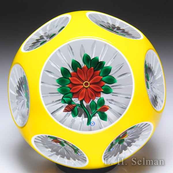 Bob Banford red clematis with yellow overlay faceted glass paperweight. by Bob Banford