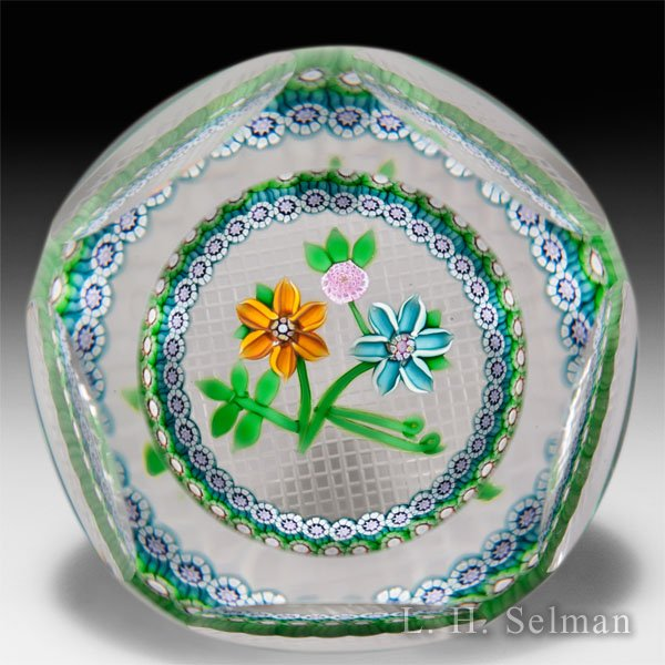 "Perthshire Paperweights (1983) ""Bouquet"" flowers with millefiori garland faceted glass paperweight. by  Perthshire Paperweights"