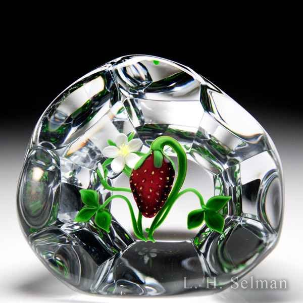 Victor Trabucco 1983 strawberry and blossom upright faceted glass paperweight. by Victor Trabucco