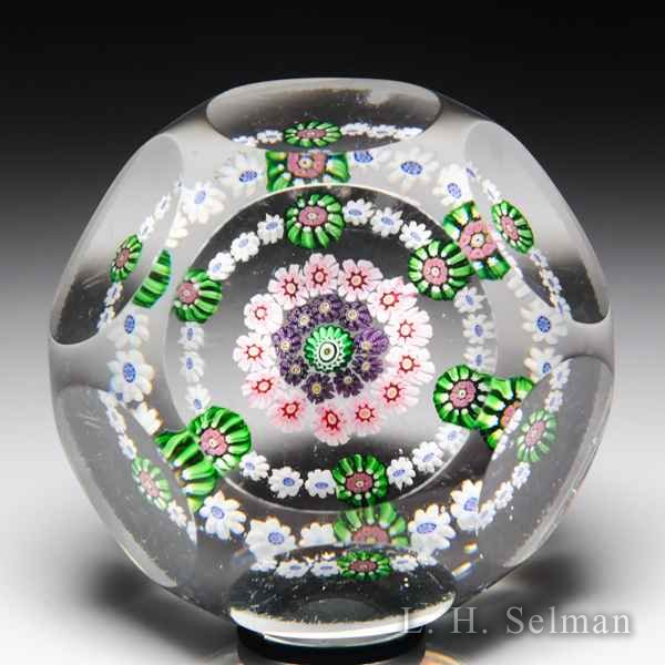 Antique Clichy faceted spaced concentric millefiori glass paperweight. by  Clichy