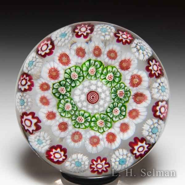 Antique Baccarat close concentric millefiori and roses miniature paperweight. by  Baccarat Antique