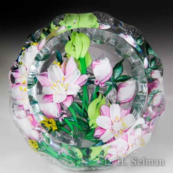 "Caithness Glass 2016 ""Pink Columbine"" floral bouquet magnum faceted glass paperweight, by Allan Scott, from the Lampwork Collection. by Caithness  Glass Inc"