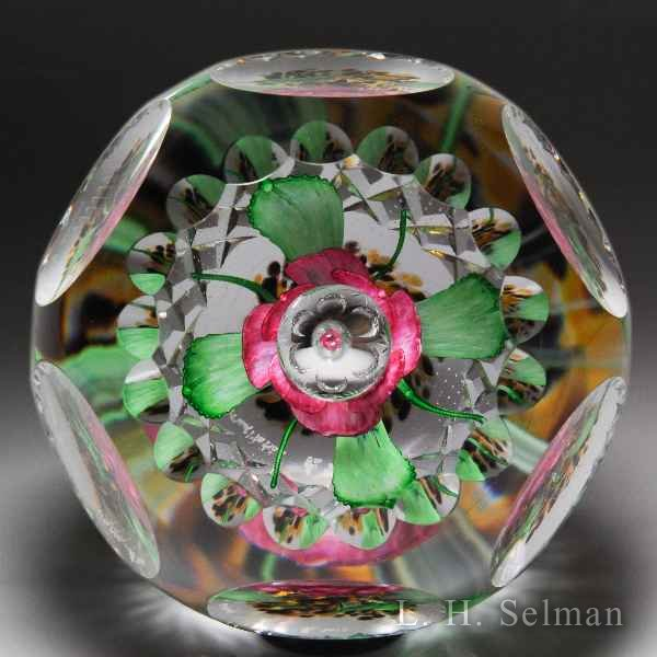 "Caithness Glass 2016 ""Meditation"" upright pink flower magnum faceted paperweight, by Robert McAteer, from the Hot House Collection. by Caithness  Glass Inc"