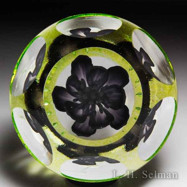 "Caithness Glass 2016 ""Black Jack"" upright purple flower magnum faceted paperweight, by Dean Gill, from the Floral Collection. by Caithness  Glass Inc"