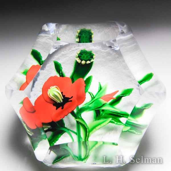 "Caithness Glass 2016 ""Crimson Poppy"" faceted glass paperweight, by Allan Scott, from the Lampwork Collection. by Caithness  Glass Inc"