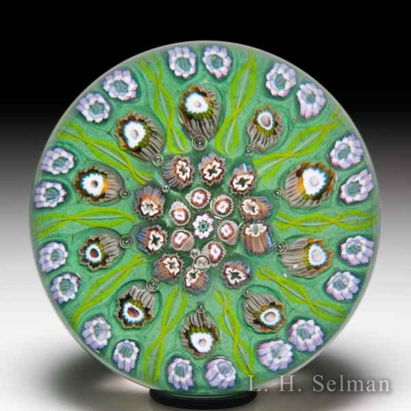Strathearn Glass patterned millefiori glass paperweight. by  Misc Modern