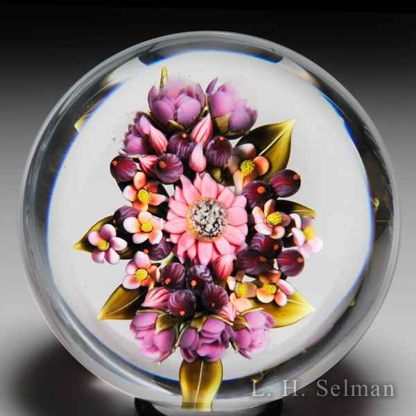 "Clinton Smith 2016 ""Floral Pink & Purple Bouquet"" with berries glass paperweight. by Clinton Smith"