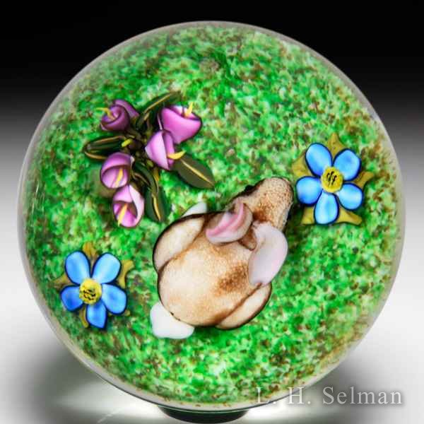 Ken Rosenfeld 2015 bunny rabbit and flowers glass paperweight. by Ken Rosenfeld