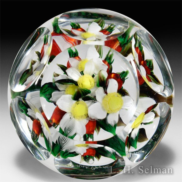 Rick Ayotte 2015 crabapples with flowers faceted paperweight. by Rick Ayotte