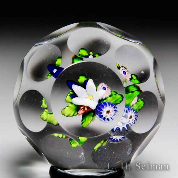 Antique Saint Louis upright bouquet miniature faceted paperweight. by Saint Louis Antique