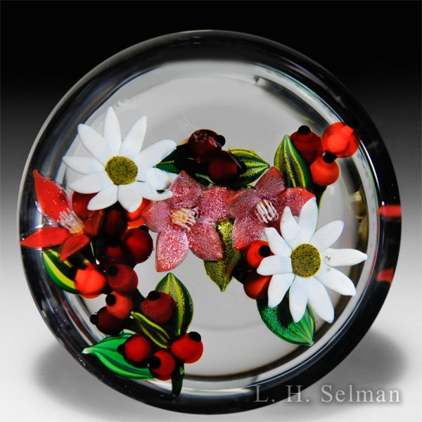 "Colin Richardson 2016 white ""Dewdrop Asters"", red berries and blossoms glass paperweight. by Colin Richardson"