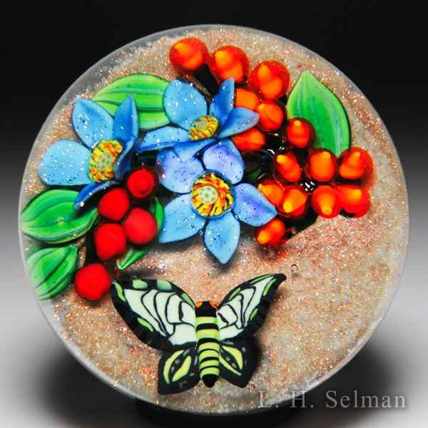 "Colin Richardson 2016 ""Golden Tropics"" butterfly and bouquet glass paperweight. by Colin Richardson"