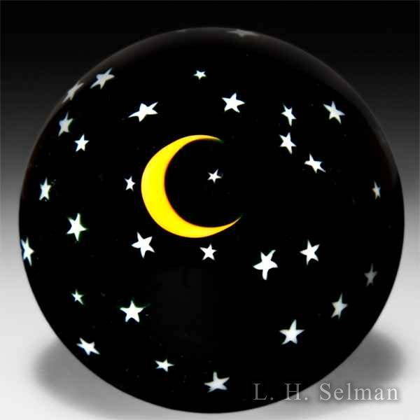 David Salazar 1985 Moon and Stars surface design miniature glass paperweight. by David P. Salazar