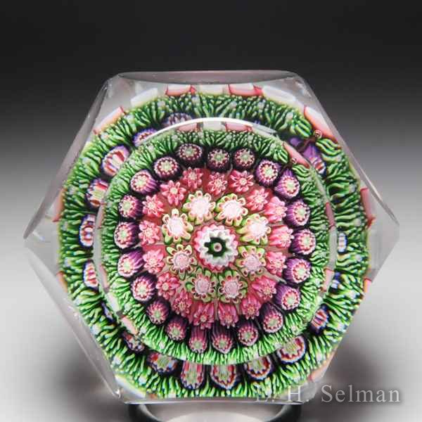 Antique Clichy close concentric millefiori mushroom faceted glass paperweight. by  Clichy