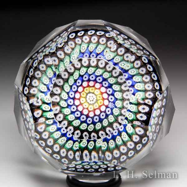 Whitefriars 1977 close concentric millefiori faceted paperweight. by  WHITEFRIARS
