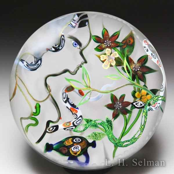 Debbie Tarsitano 'The Snake Charmer' painted and etched glass paperweight. by Debbie Tarsitano