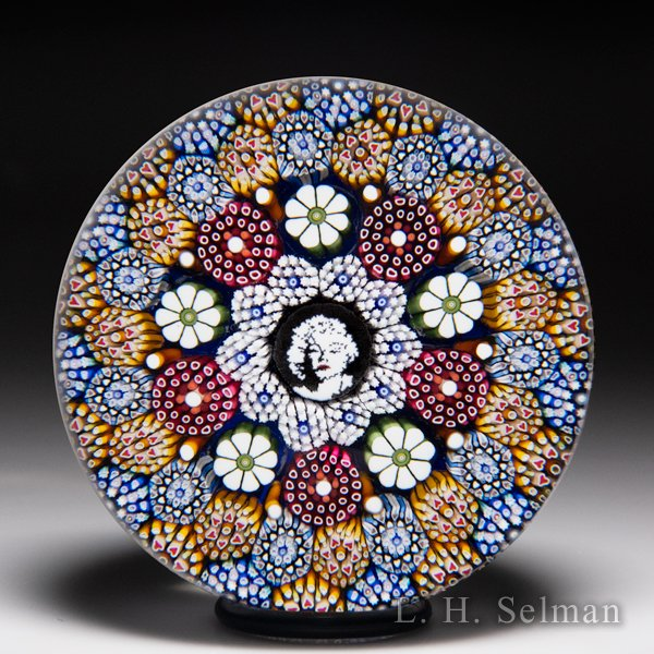 Mike Hunter 2016 Marilyn Monroe murrina portrait with complex millefiori and flowers paperweight. by Twists Glass Studio
