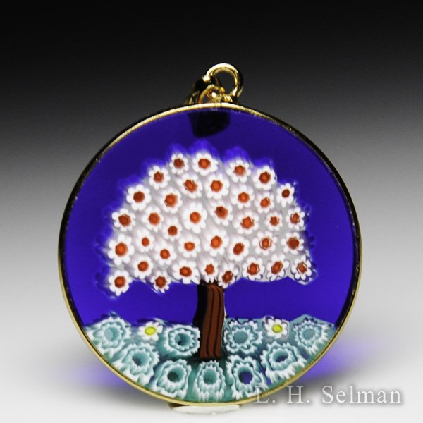 Antica Murrina Veneziana, Murrano glass millefiori red tree pendant. by  Misc Modern