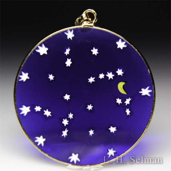 Antica Murrina Veneziana, Murrano glass millefiori moon and stars large pendant. by  Misc Modern