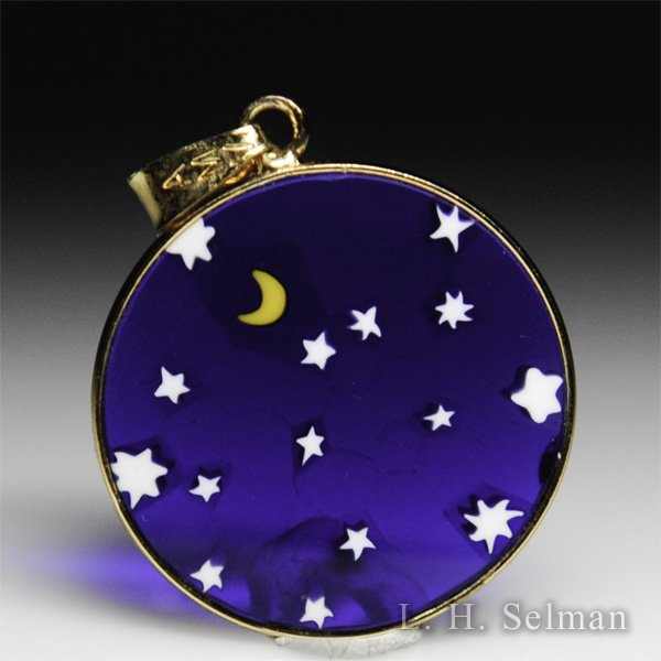 Antica Murrina Veneziana, Murrano glass millefiori moon and stars small pendant. by  Misc Modern