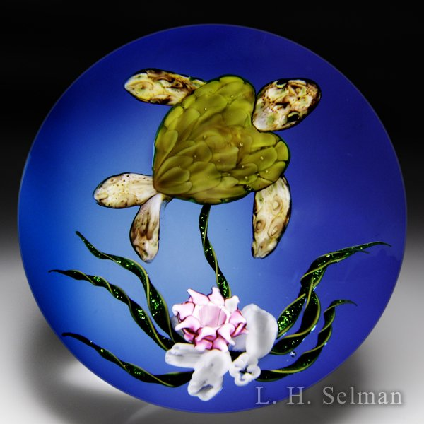"Ken Rosenfeld 2016 ""Caribbean Treasure"" turtle glass paperweight. by Ken Rosenfeld"