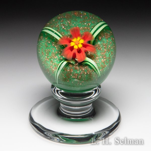 Charles Kaziun Junior red lily miniature pedestal glass paperweight. by Charles Kaziun Junior