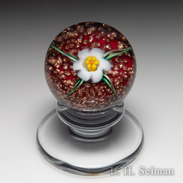 Charles Kaziun Junior white lily miniature pedestal glass paperweight. by Charles Kaziun Junior