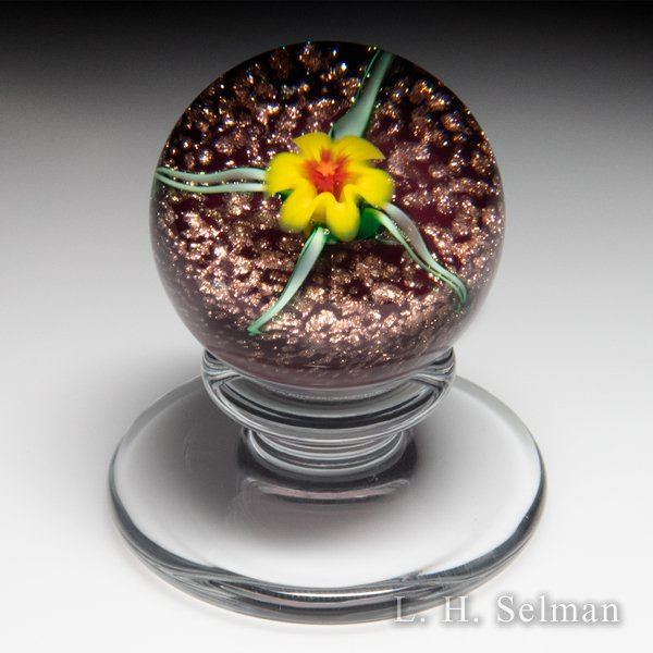 Charles Kaziun Junior yellow lily miniature pedestal glass paperweight. by Charles Kaziun Junior